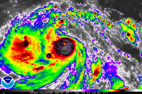 Screengrab from the MTSAT video shows the eye of Typhoon Glenda (Rammasun.)