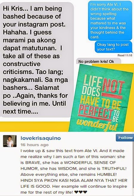 Photo posted by Kris, showing text message from Vilma, along with Kris' reply (From Kris Aquino's Instagram account)