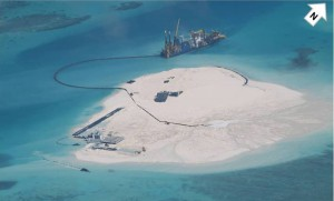 Part of Johnson Reef locally called Mabini Reef at the Spratly Islands. Photo from Philippine Department of Foreign Affairs / scmp.com.