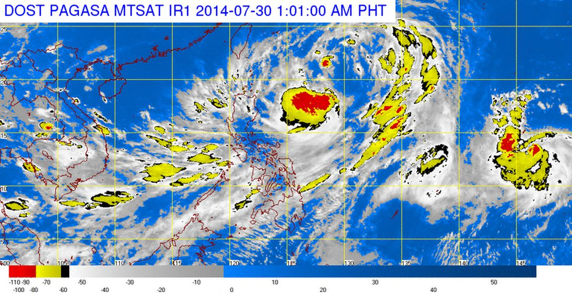 Satellite image of TD 'Inday' as of July 30, 2014 at 1:01 AM. Image courtesy of PAGASA DOST.