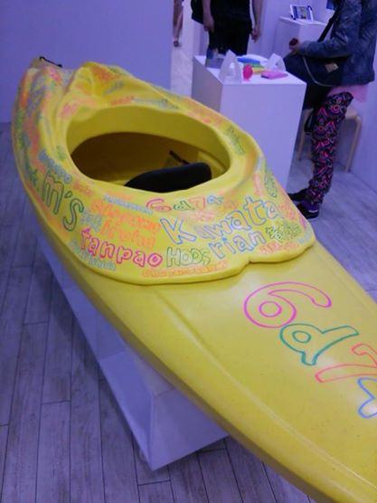 The kayak modeled after the artist's vagina. (Photo from the Facebook page of Roduke Nashiko)