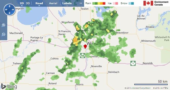 Screenshot from Bing / Environment Canada.