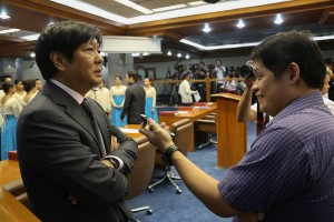 Sen. Ferdinand 'Bongbong' Marcos being interviewed at the Senate of the Philippines (Facebook photo)