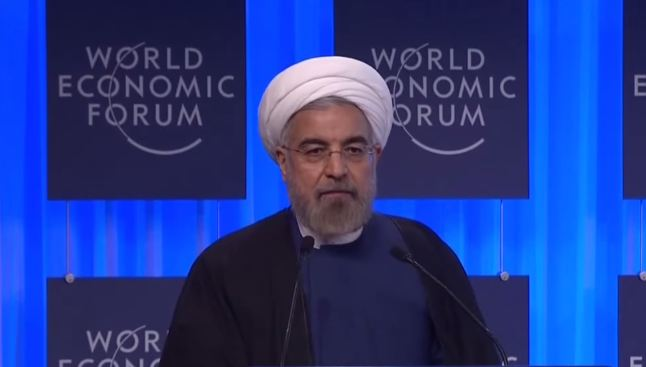 Pres. Hassan Rouhani of Iran at the World Economic Forum 2014. Screenshot of PressTV footage.