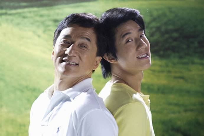 Jackie Chan with son Jaycee (Photo from Jackie Chan's official Facebook page)