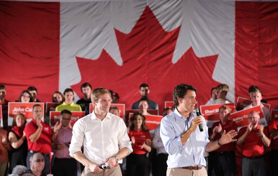 Liberal Leader Justin Trudeau (right) and New Brunswick Leader Brian Gallant (Facebook photo)