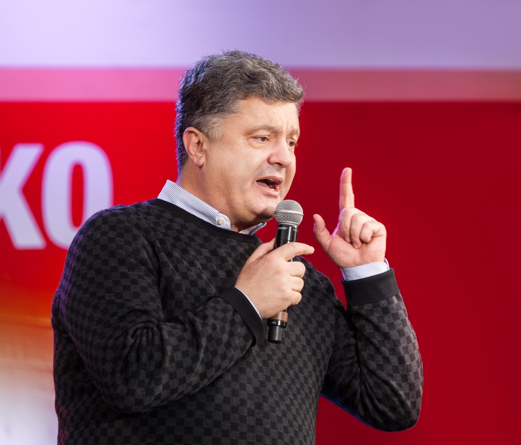 Most rating Ukrainian presidential candidate Petro Poroshenko speaks at election meeting in Uzhgorod (Mykhaylo Palinchak / ShutterStock)