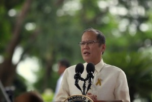 "President Benigno S. Aquino III delivers his speech during the commemoration of National Heroes Day at the Libingan ng mga Bayani in Fort Bonifacio, Taguig City on Monday (August 25). This year's theme is ""Bayaning Pilipino: Lumalaban para sa Makatuwiran at Makabuluhang Pagbabago."" Also in photo are Armed Forces of the Philippines Chief of Staff General Gregorio Pio Catapang, Jr., Defense Secretary Voltaire Gazmin, National Historical Commission of the Philippines chairperson Dr. Maria Serena Diokno and Taguig City Mayor Ma. Laarni Cayetano. (Photo by Ryan Lim / Malacañang Photo Bureau / PCOO)"
