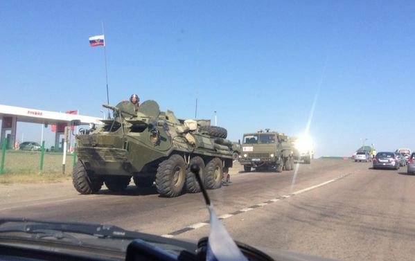 Russian vehicles occupying Ukraine. Photo courtesy of Roland Oliphant / Twitter