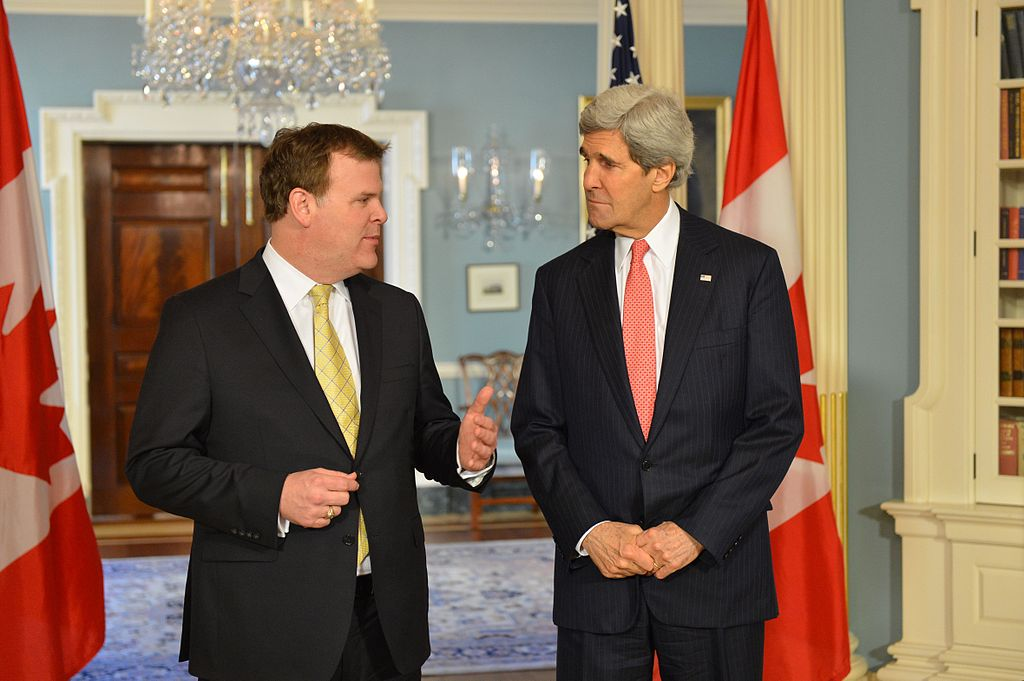 Canadian Foreign Minister John Baird and U.S. Secretary of State John Kerry. Photo from U.S. Department of State / Wikimedia Commons.