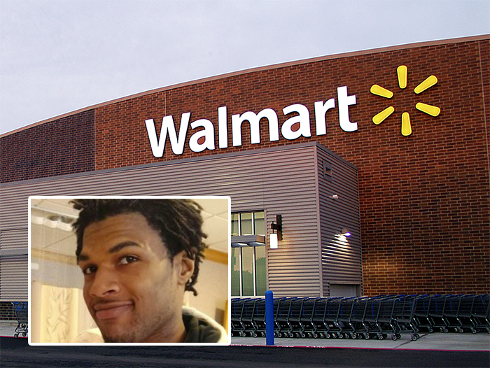 Authorities haven't said which of the two responding officers in the Wal-Mart case fired the shot killing 21-year-old John Crawford III (inset) on Aug. 5 in the Dayton suburb of Beavercreek. Photo from Wikimedia Commons.