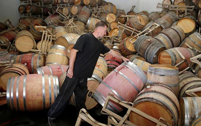 Wine barrels strewn everywhere after the 6.0-magnitude earthquake in Napa. (Screengrab from NBC6 footage)