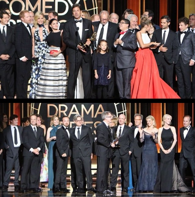 (Top photo) Cast of 'Modern Family' accept their Emmy win for Outstanding Comedy; (bottom photo) the cast of 'Breaking Bad' accepting their award for Outstanding Drama. (Primetime Emmy Facebook Photo)