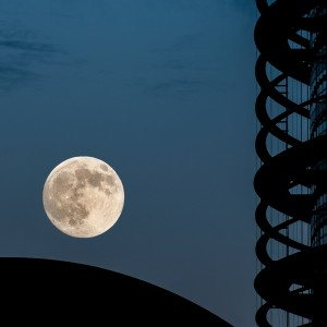 The rare super moon over European Parliament building in Strasbourg, France (ShutterStock image).