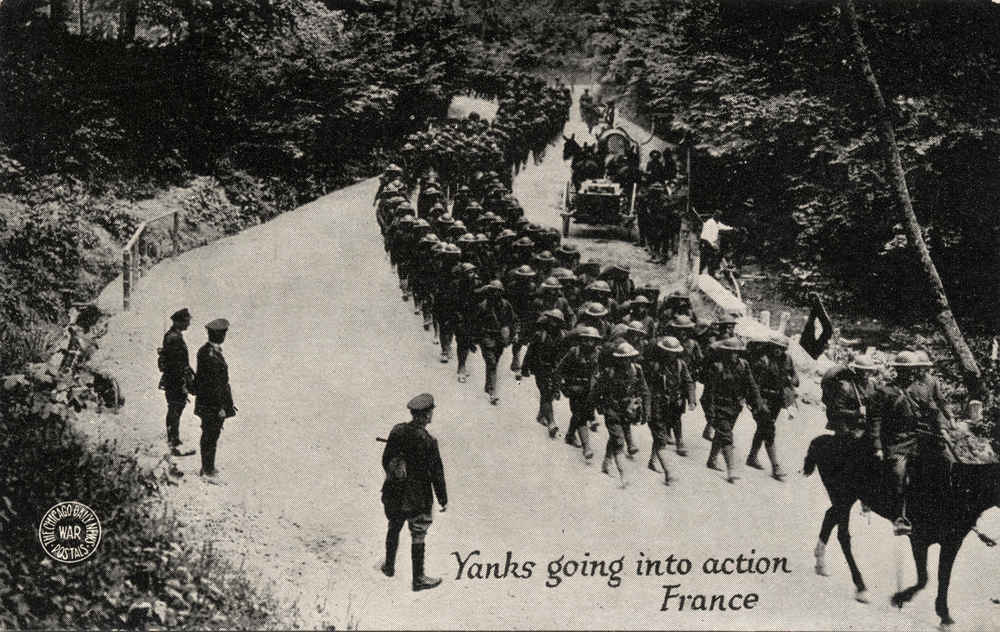 Early 1900 postcard depicting Yankee soldiers going into action in France during WWI. (ShutterStock)