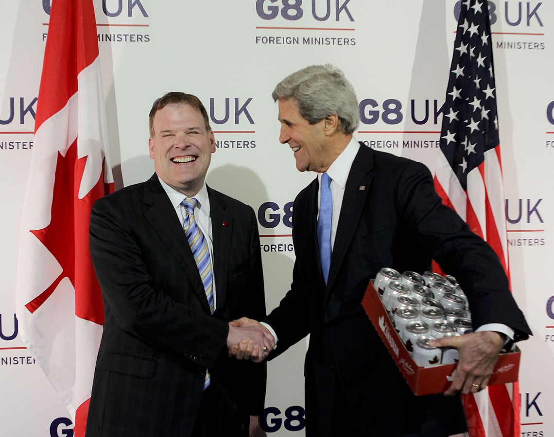 John Baird with U.S. Secretary of State John Kerry in London, United Kingdom. Photo courtesy of U.S. Department of State / Flickr.