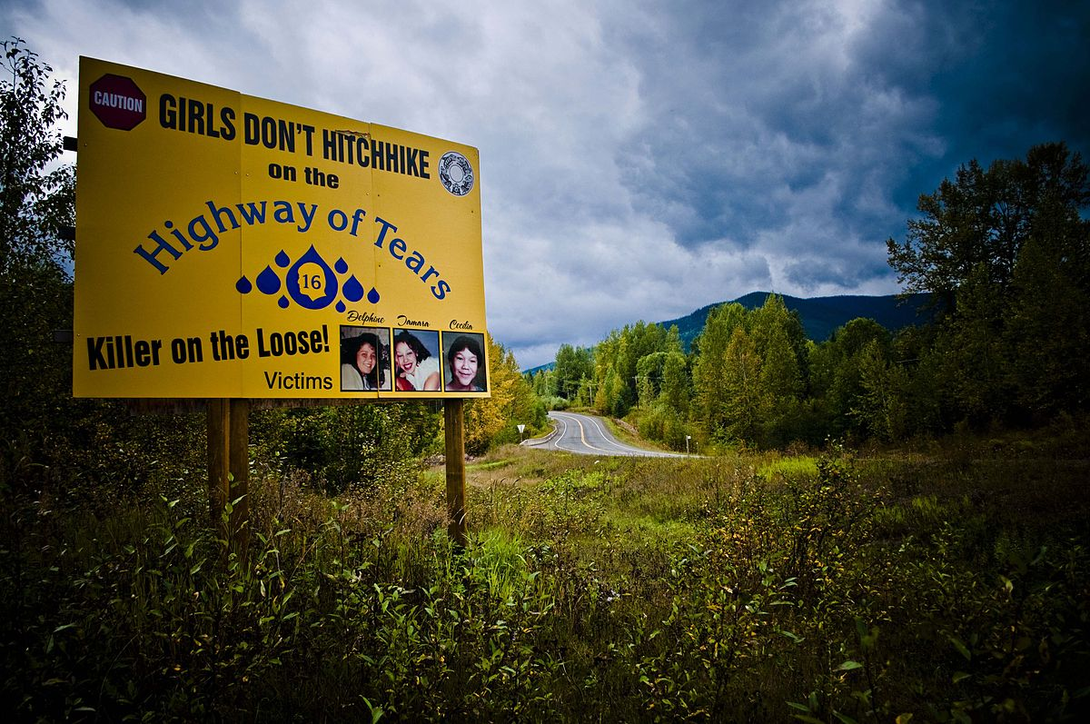 The Highway of Tears murders is a series of unsolved murders and disappearances of young women along the 800 km (500 mi) section of Highway 16 between Prince George and Prince Rupert, British Columbia, Canada from 1969 until 2011. 21 year-old Cody Legebokoff was identified as the murderer for some cases. Photo by Izithombe / Flickr.