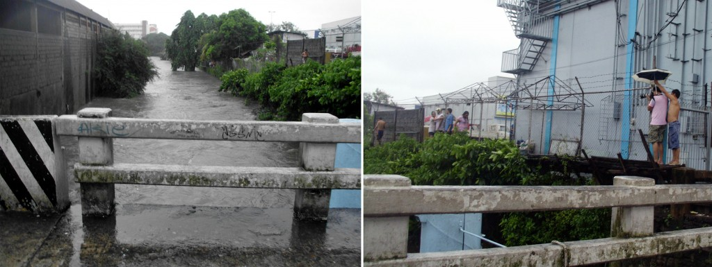 "Left photo shows the rising water of the Culiat River near the Quezon City General Hospital due to heavy rains generated by tropical storm ""Mario"" on Friday (Sept. 19, 2014). Shown in right photo are Philippines News Agency photographer Ben Briones and driver Rolly Pua (holding an umbrella) to enable the former to take photo amid the rains of the swollen river and the people walking carefully on a makeshift wooden pathway erected along one side of the river. (PNA photos by Angelica A. Abuan)"