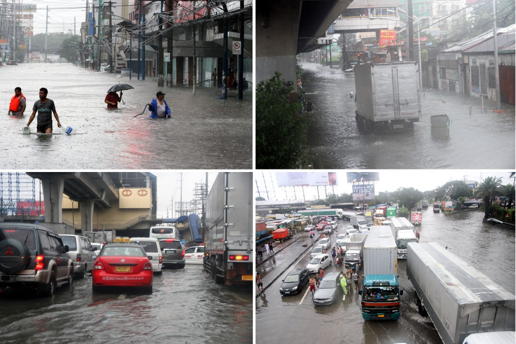 "Heavy rains brought about by the combined effects of the southwest monsoon and tropical storm ""Mario"" caused flooding in many streets in Metro Manila on Friday (Sept. 19, 2014) as shown in this series of photos (clockwise from top left): E. Rodriquez Ave. in front of Delos Santos Hospital in Quezon City; R. Rapa St. in Rizal Ave. Extension, Caloocan City; EDSA Balintawak near the Light Rail Transit (LRT) Station; and A. Bonifacio Ave. leading to the North Luzon Expressway. (PNA photos by Ben Briones)"