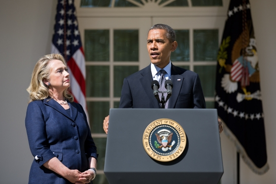 President Barack Obama, with Secretary of State Hillary Rodham Clinton, delivering a statement at the White House on September 12, 2012 in which he condemned the attack on the U.S. Consulate. Official White House Photo by Lawrence Jackson.