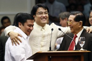 Senators Jinggoy Estrada, Bong Revilla and Juan Ponce Enrile. Photo by Alex Nuevaespaña / Public Relation and Information Bureau / Wikimedia Commons.