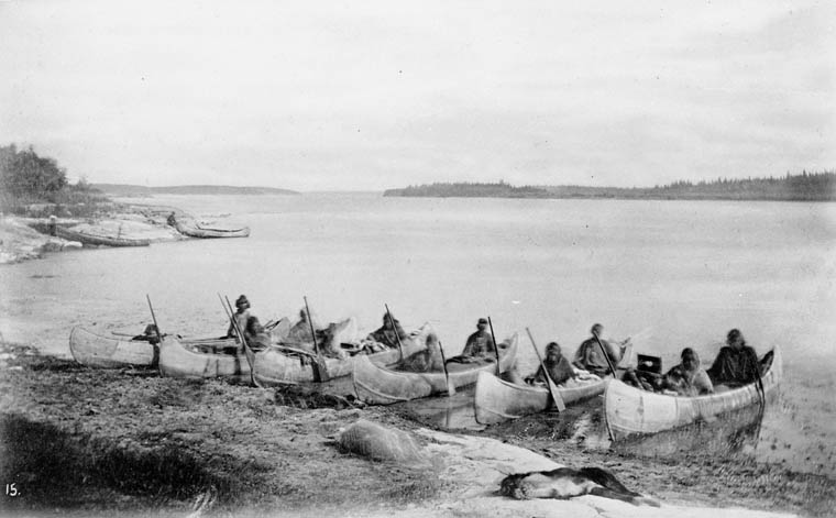 First Nations people. Original photograph from the collection of Sir Sandford Fleming. Photograph by Robert Bell in the employ of the Geological Survey of Canada / Wikimedia Commons.