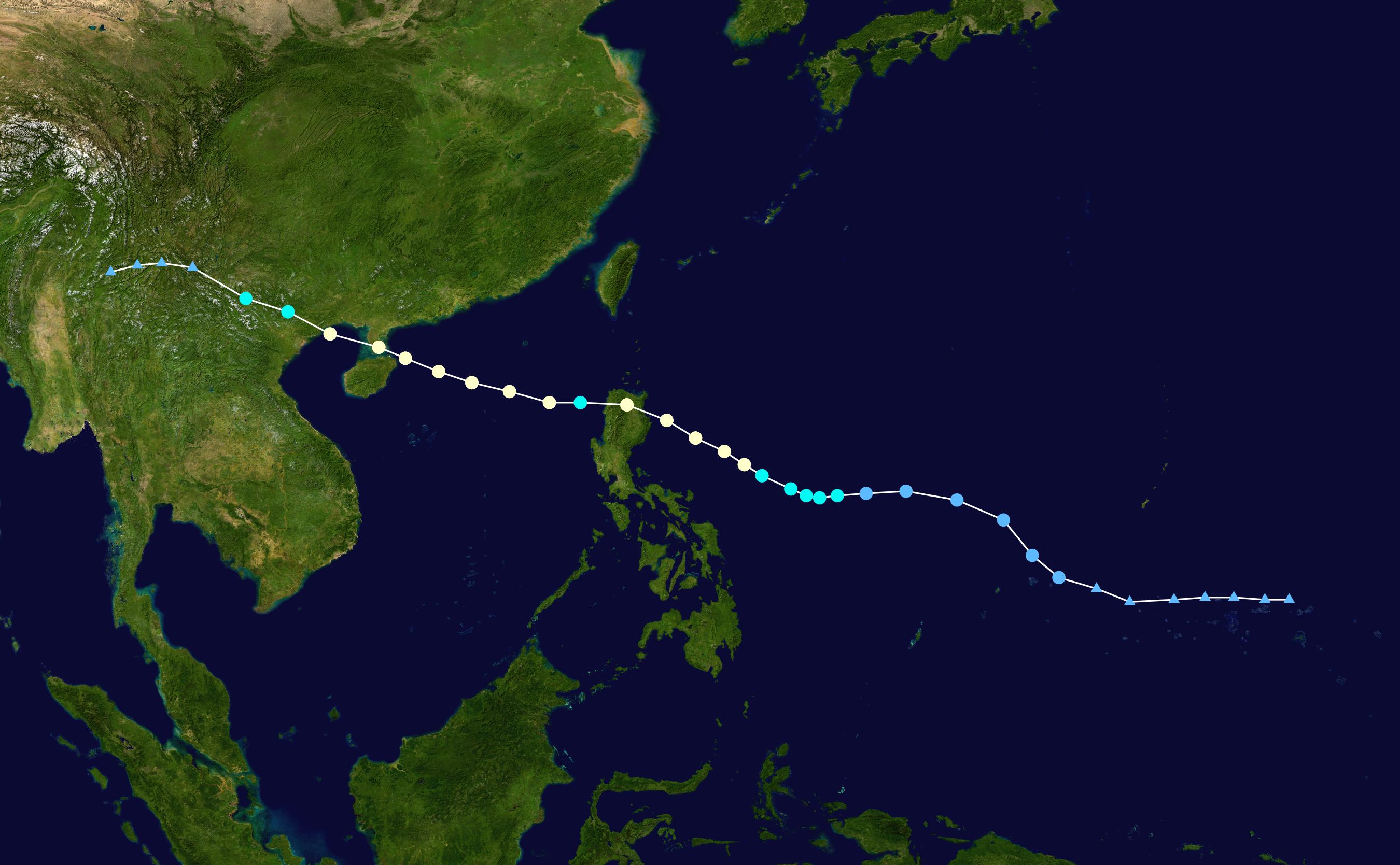 Track map of Typhoon Kalmaegi of the 2014 Pacific typhoon season. Created by Meow using Wikipedia / WikiProject Tropical cyclones/Tracks.