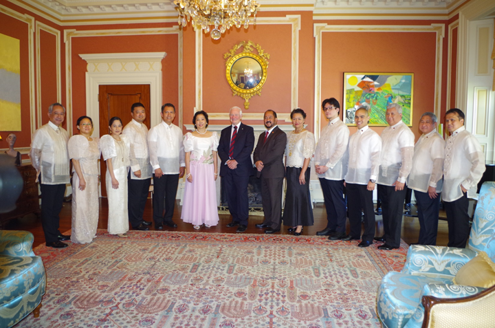 Ambassador Garcia, the Governor General of Canada, Senator Tobias Enverga, Jr. pose  with the Ambassador's entourage.