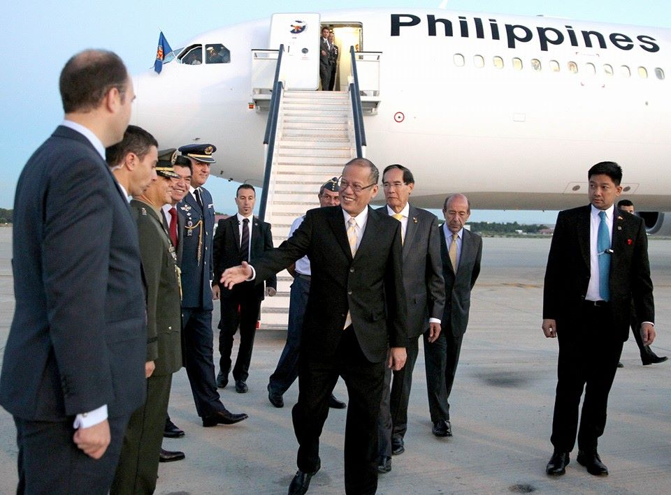 Pres. Benigno Simeon Aquino III (PNoy) arrived in Spain at 7:22am Manila time. (PNoy Facebook photo)