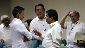 Presidential Communication Operations Office (PCOO) Secretary Herminio Coloma (2nd right) talks with Senator Francis Escudero, chairperson of the Senate committee on finance, after the deliberation of the 2015 proposed budget of the Presidential Communication Operations Office (PCOO) and attached agencies on Wednesday (September 3, 2014) at the Senate building in Pasay City. Also in photo (from left) are IBC 13 president and CEO Manolito Cruz, PCOO Undersecretary Jess Anthony Yu and Director Tito Cruz of the Bureau of Broadcast Services. (PNA photo by Avito C.Dalan)