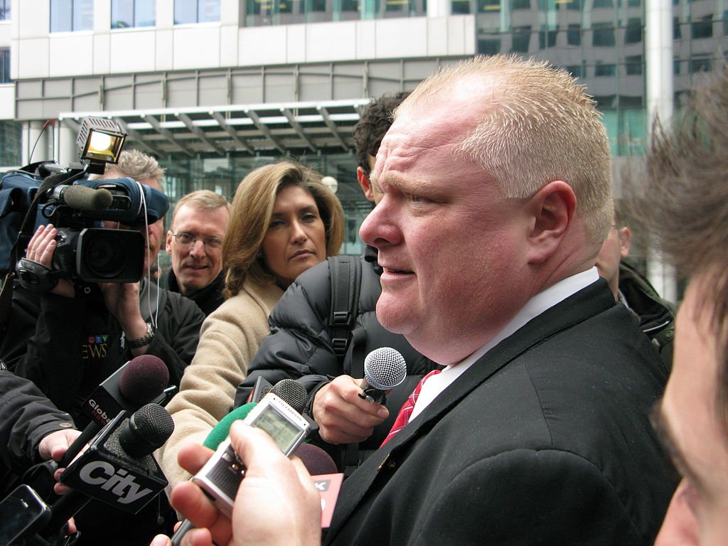 Rob Ford meets the press outside Metro Hall. Photo from West Annex News / Flickr.
