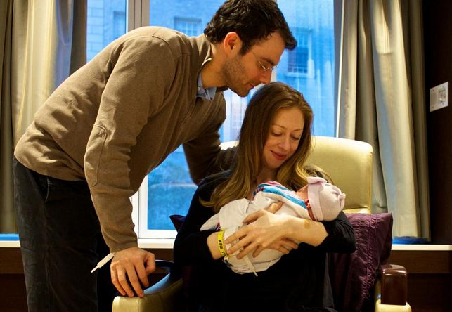 Chelsea Clinton with husband Marc Mezvinsky and new baby Charlotte (Photo courtesy of Chelsea Clinton's Twitter account)