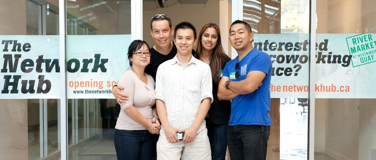 Jay (front-row, right), John (front-row, middle), and Minna (front-row, left) founded The Network Hub as a response to their booming web design business back in their university days. Photo by Jeremy Lim Photography.