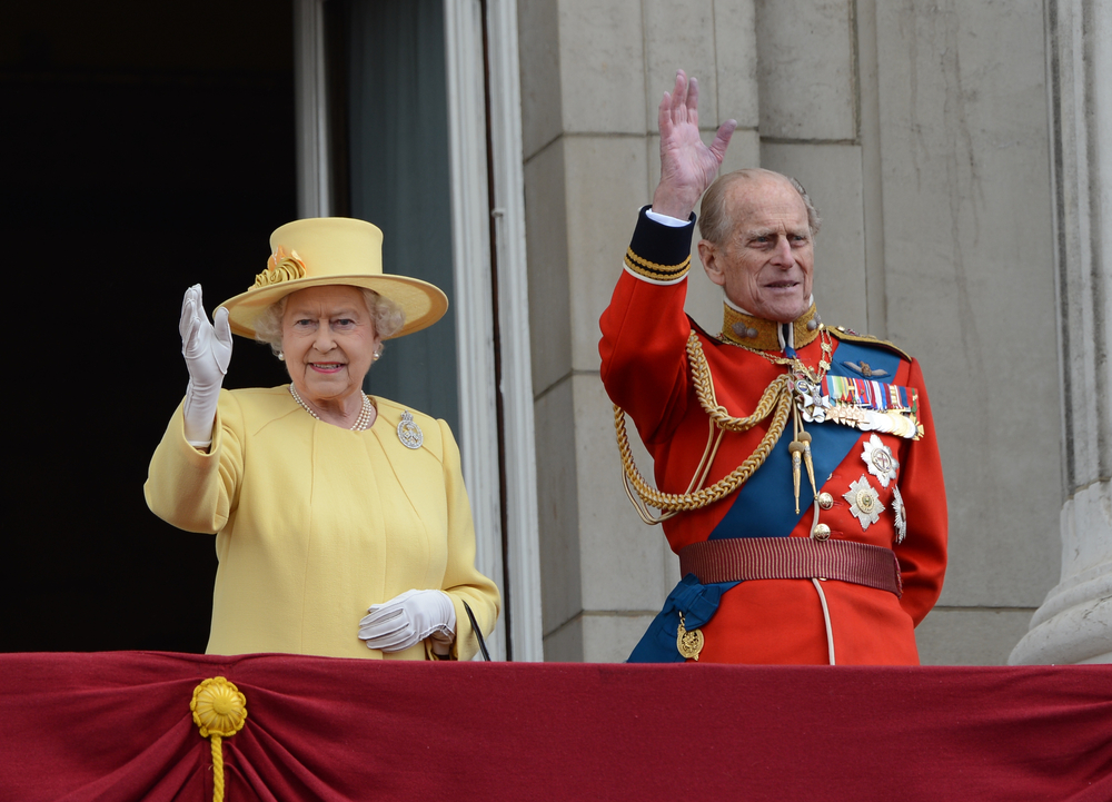 Queen Elizabeth II and Duke of Edinburgh attend the Trooping Of The Colour at Horse Guards Parade, London, UK. June 16, 2012. (Catchlight Media / Featureflash)