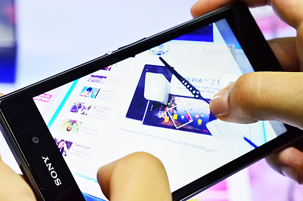 Sony Xperia Z released on 9 February 2013 in Japan, is a touchscreen designed, developed, and marketed by Sony Mobile, runs Android 4.1.2 in Saigon October 8, 2013 (Tanjala Gica / Shutterstock)