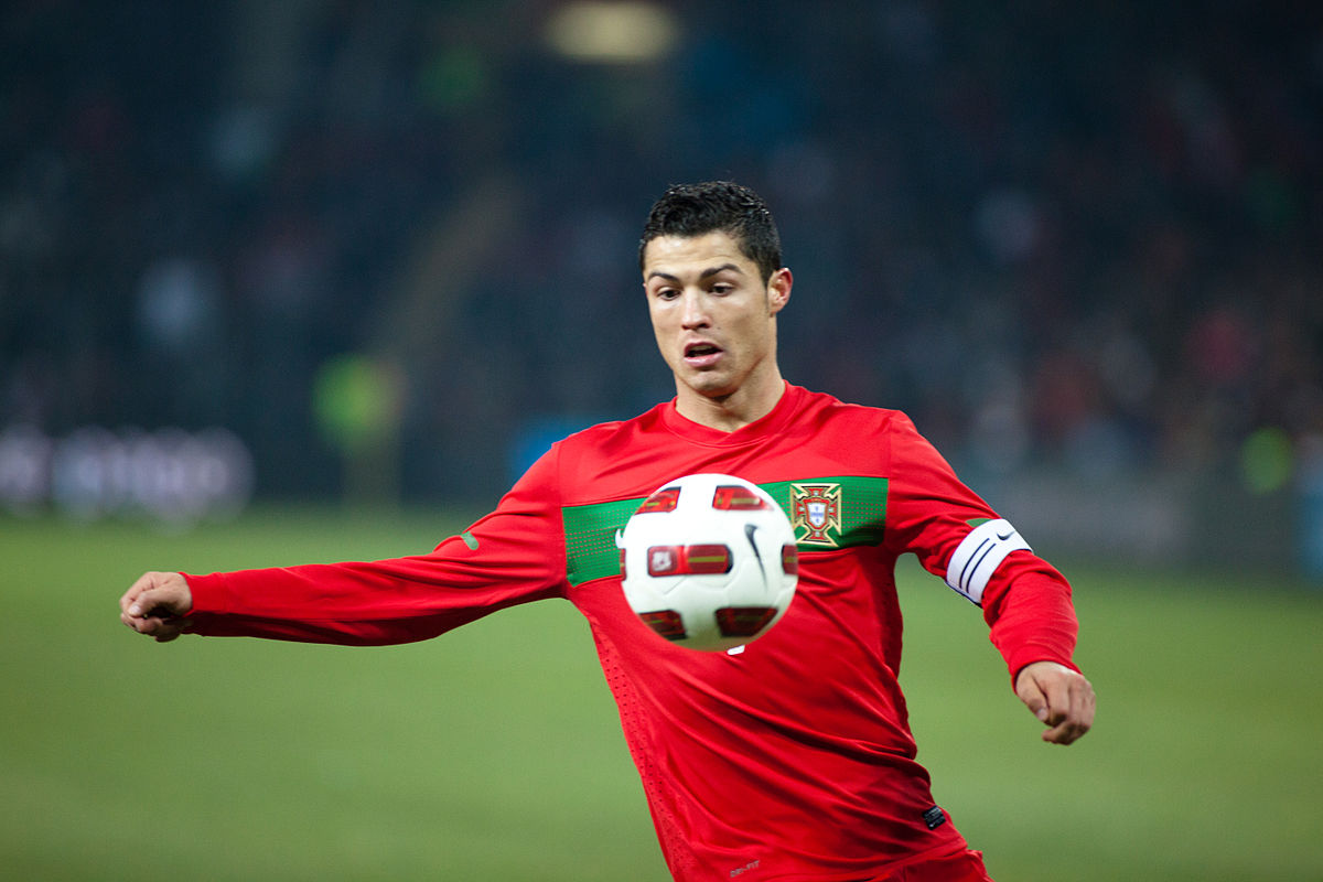 Cristiano Ronaldo during the friendly match between Portugal and Argentina. Ludovic Péron / Wikimedia Commons.