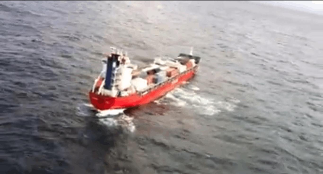 Russian bulk carrier vessel adrift off Haida Gwaii. DND-MND CANADA.
