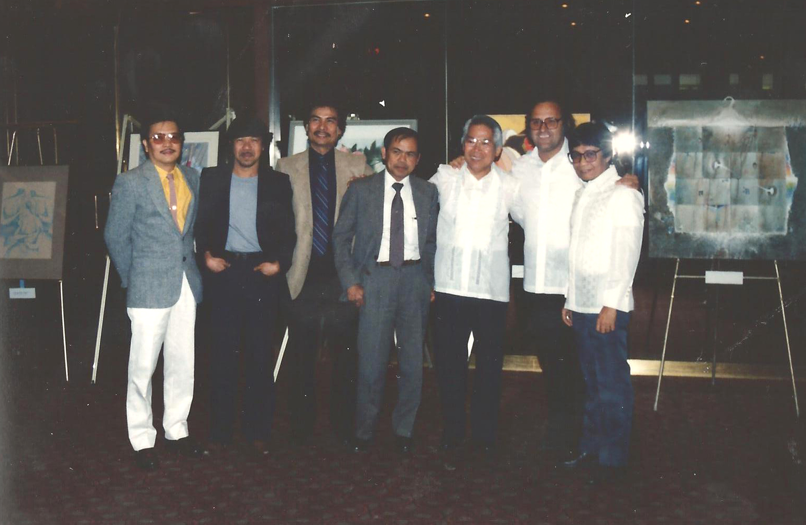 Romi (extreme right) with fellow artists during the first ever Philippine artshow in Toronto. (L-R) Papu Leynes, Ike Dizon, Art Cunanan, Ed Araquel, Rol Lampitoc, and Hubert Sabelis.