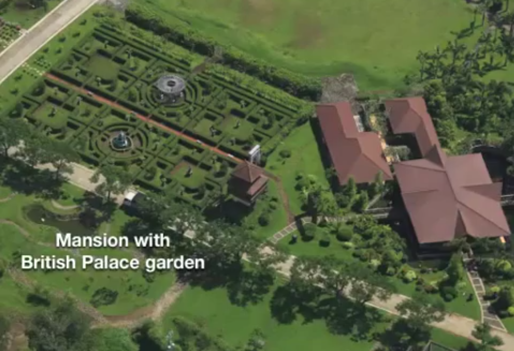 "Dra. Elenita Binay's ""maze garden"" reminiscent of the Royal Botanical Gardens of Kew in London. (Screenshot from Mercado's presentation)"