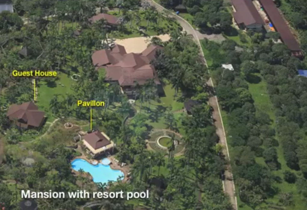 The mansion said to be patterned from the Royal Family's summer palace. (Screenshot from Mercado's presentation)