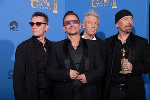 U2 wins  'Best Original Song' for 'Ordinary Love' at the  2014 Golden Globe Awards (Photo courtesy of U2's official Facebook page)
