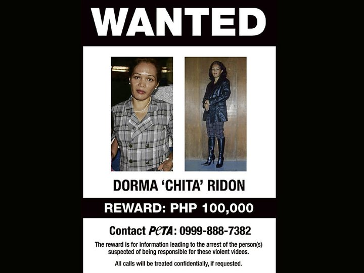 """""""Wanted"""" poster released by Peta, prior to the arrest of Dorma and Vicente Ridon in 2011. (Photo : Facebook / Peta)"""