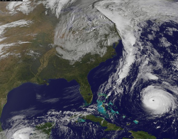 NOAA's GOES-East satellite captured this image of Hurricane Gonzalo off the U.S. East Coast on Oct. 16 at 13:07 UTC (9:07 a.m. EDT). Gonzalo is classified as Category 4 storm and has caused a delay to the next Antares rocket launch. NASA / NOAA GOES Project.