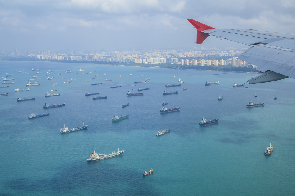 Cargo ships entering one of the busiest ports in the world, Singapore.