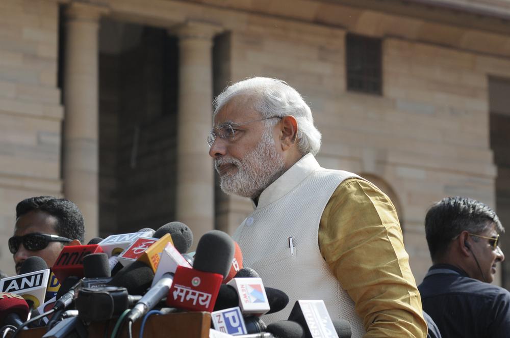 Prime Minister Narendra Modi at Rashtrapati Bhavan during a press conference. Photo by arindambanerjee / Shutterstock.com.