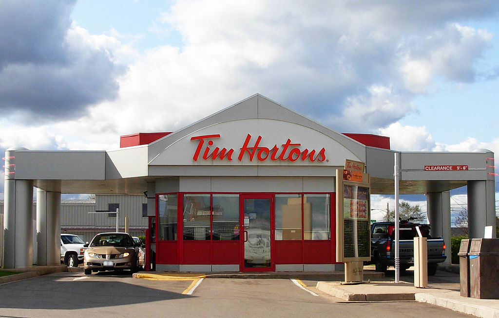 A drive thru only Tim Hortons location in Moncton, New Brunswick. Stu pendousmat / Wikimedia Commons.