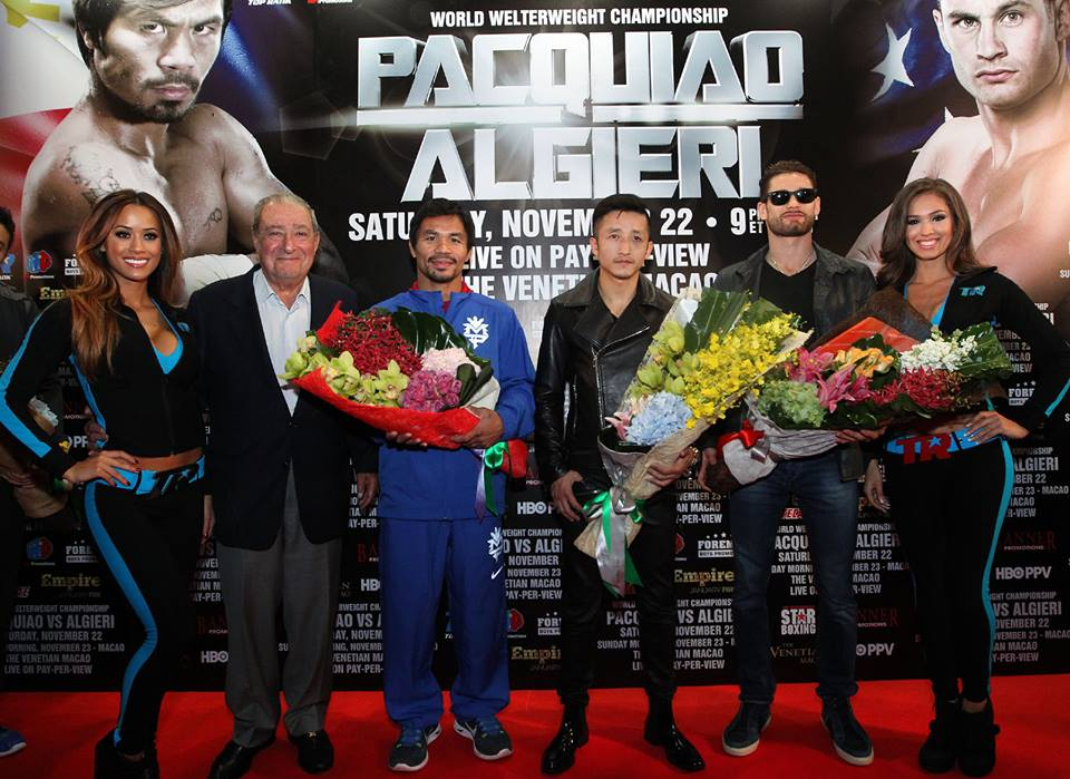 Manny Pacquiao, Chris Algieri and their respective teams walk the red carpet in Macau, China. The Pacquiao-Algieri World Boxing Organization (WBO) welterweight title fight happens Nov. 22 at the Venetian Macao live on HBO Pay-Per-View. (Chris Farina / Manny Pacquiao Official Facebook Page)