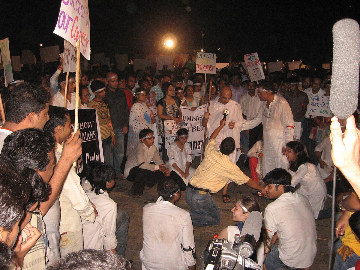 Protests against the government were witnessed all across the country after the 2008 Mumbai terror attacks. Nichalp / Wikimedia Commons.