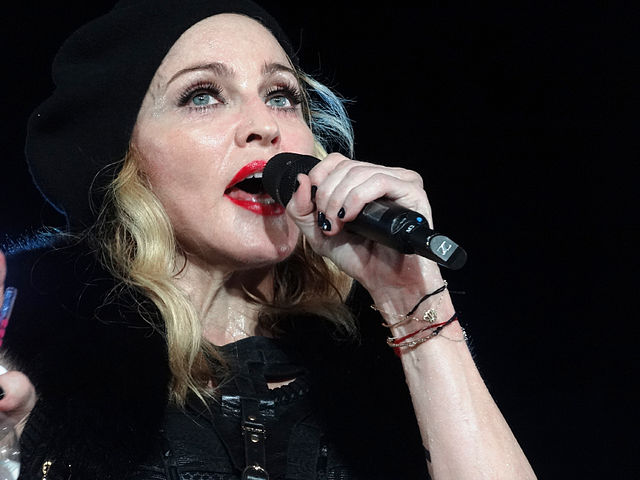 Madonna during her concert in Nice as part of her MDNA Tour on August 21, 2012. Pascal Mannaerts / CC-BY-SA-3.0.