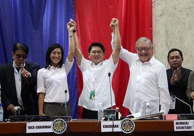 Quezon City Mayor Herbert Bautista (center) with Vice Mayor Joy Belmonte and Speaker Feliciano Belmonte (Facebook)